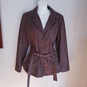 Talbots brown stretchy jacket w/ 4 pockets size 14